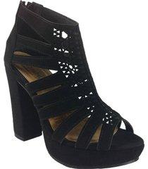 zapatos  sandalias tacon alto  con  plataformas negro lince  wanted