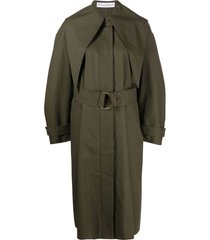 jw anderson d-ring belted trench coat - green