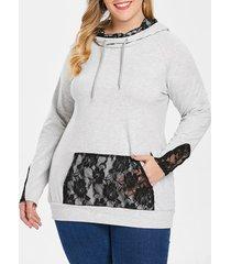 plus size kangaroo poket lace hoodie