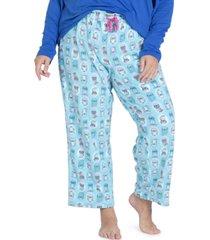 muk luks plus size printed fleece pajama pants