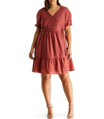 estelle elsa puff sleeve wrap dress, size 4x in rosewood at nordstrom