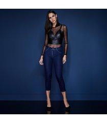 calça altoplano cropped jeans azul