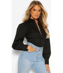 katoenen poplin blouse met uitgesneden schouders en zakken, black