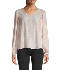 t tahari women's snake-print puffed-shoulder blouse - peach print - size xl
