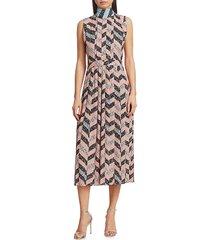 3.1 phillip lim women's neck-tie pleated midi dress - blush sky - size 0