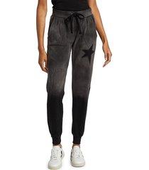 chrldr women's star stencil sweatpants - vintage black - size m
