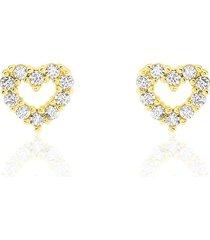 orecchini a lobo in oro giallo e zirconi cuori per donna