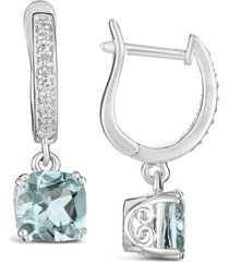 aquamarine (2-1/2 ct. t.w.) and diamond (1/10 ct. t.w.) drop earrings in sterling silver