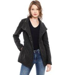 abrigo vero moda brushed myra gris - calce regular