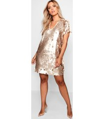 plus sequin disk shift dress, gold