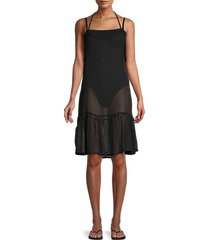 rachel roy women's sheer flounce coverup dress - black - size l
