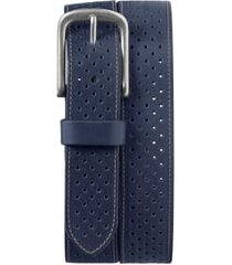 men's trask denton perforated leather belt, size 44 - navy