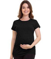 camiseta gestante manga curta conforto em algodão luna cuore