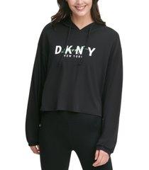 dkny sport script-logo cropped hoodie t-shirt