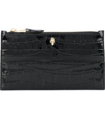 alexander mcqueen flat zip crocodile-effect wallet - black