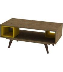 mesa centro retrã´ 45 rustik carvalho e amarelo olivar - marrom - dafiti