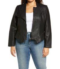 plus size women's blanknyc faux leather moto jacket, size 3x - black