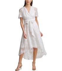 jessica howard jacquard faux-wrap maxi dress