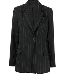 brunello cucinelli beaded pinstripe wool blazer - black