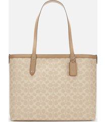 coach women's coated canvas signature central tote bag with zip - sand taupe