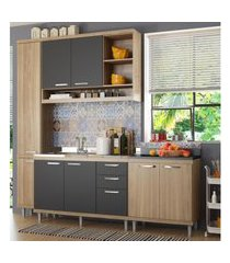 cozinha compacta completa multimóveis com 4 peças sicília 5812 argila/grafite