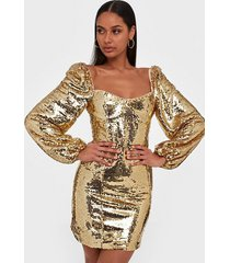 glamorous gold sequin dress paljettklänningar