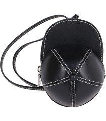 black leather nano cap bag