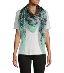 floral & cheetah-print scarf