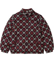 gucci blue lightweight jacket with red and white logo trama
