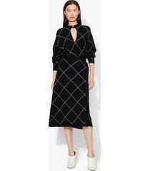 proenza schouler windowpane wrap knit keyhole dress black/optic white m