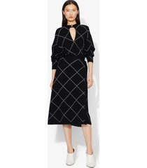 proenza schouler windowpane wrap knit keyhole dress black/optic white xs