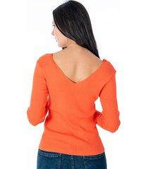 sueter tejido naranja para dama con escote en frente y espalda
