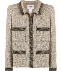 chanel pre-owned straight-fit multi-pockets jacket - brown