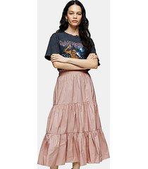 blush pink plain taffeta tiered skirt - blush