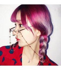 women vogue lens-free metal occhiali lower half frame lente trasparente water drop decorative occhiali