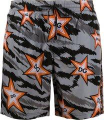 dolce & gabbana star camouflage beach shorts - grey