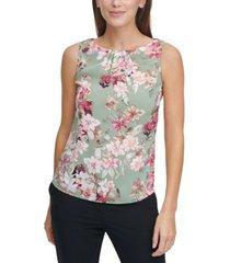dkny floral-print pleat-neck tank top