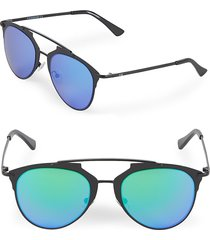 aqs women's mirrored 52mm aviator sunglasses - black green
