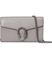 women's gucci dionysus leather wallet on a chain - grey