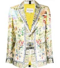 etro all-over print blazer - neutrals