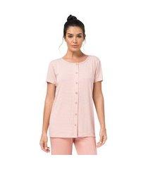 pijama aberto capri listrado salmão feminino - toque sleepwear