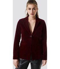 na-kd party velvet loose fit blazer - red
