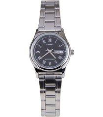 reloj casio casio ltp-v006d-1b plateado para mujer