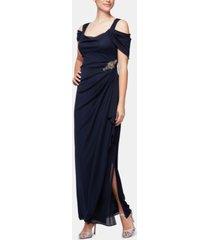 alex evenings petite embellished cold-shoulder gown
