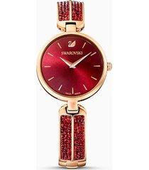 orologio dream rock, bracciale di metallo, rosso, pvd oro rosa