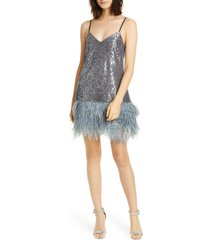 women's cinq a sept athena feather hem sequin dress