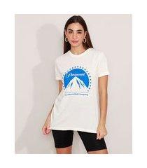 t-shirt de algodão paramount manga curta decote redondo mindset off white