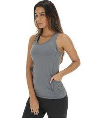 camiseta regata asics functional tank - feminina - cinza escuro
