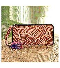 batik cotton wallet, 'creative design in russet' (india)