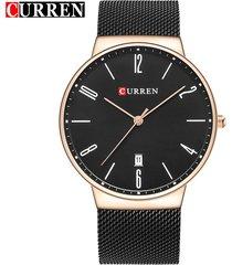 curren / 8257 reloj de pulsera de malla de acero-dorado